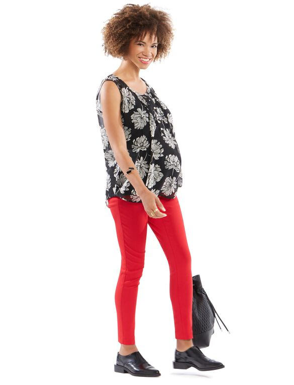 Secret Fit Belly Skinny Ankle Maternity Pants, Classic Red