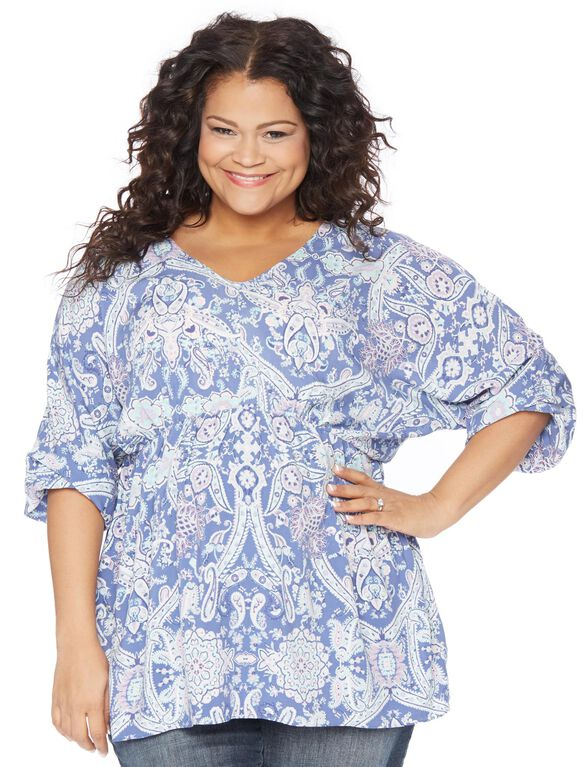 Plus Size Fit And Flare Maternity Blouse, Paisley Print