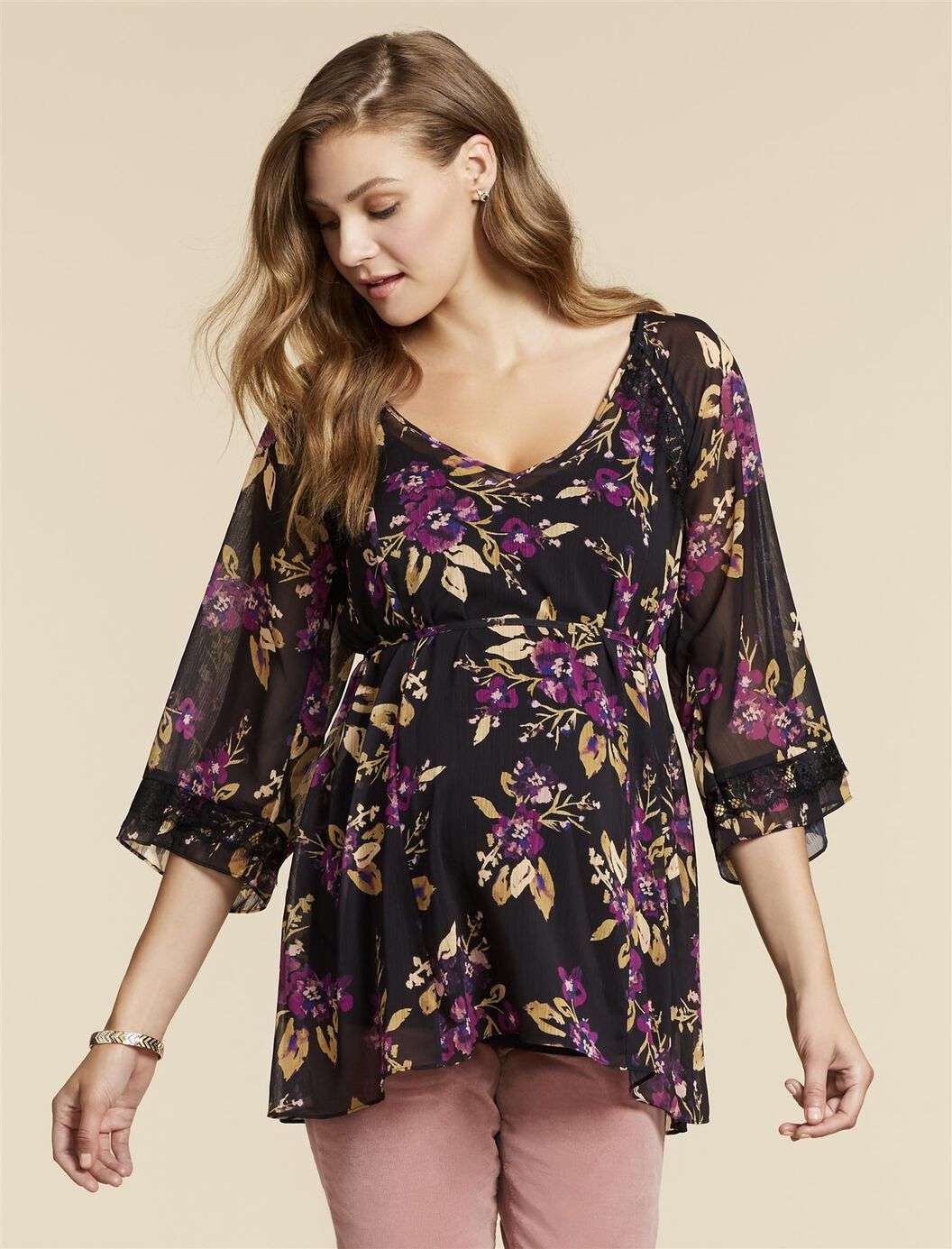 Jessica Simpson Lace Trim Maternity Blouse at Motherhood Maternity in Victor, NY | Tuggl