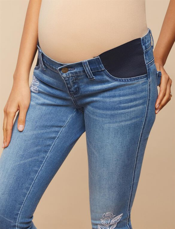 Jessica Simpson Side Panel Straight Leg Maternity Crop Jeans, Light Wash