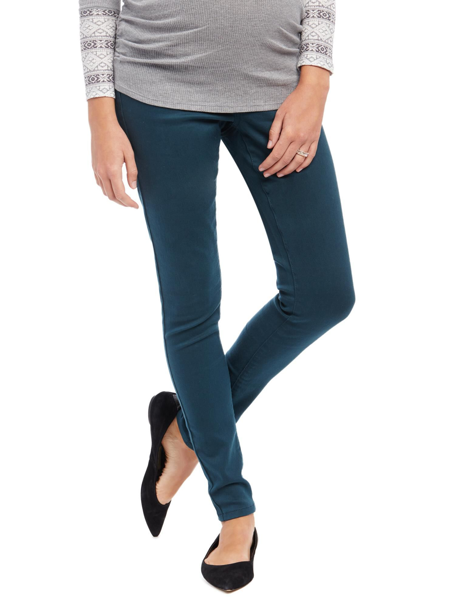 Secret Fit Belly Skinny Twill Maternity Pants- Evergreen