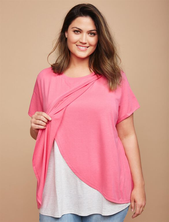 Plus Size Lift Up Relaxed Fit Nursing Tee, Pink