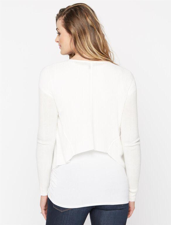 Cascade Maternity Cardigan, White