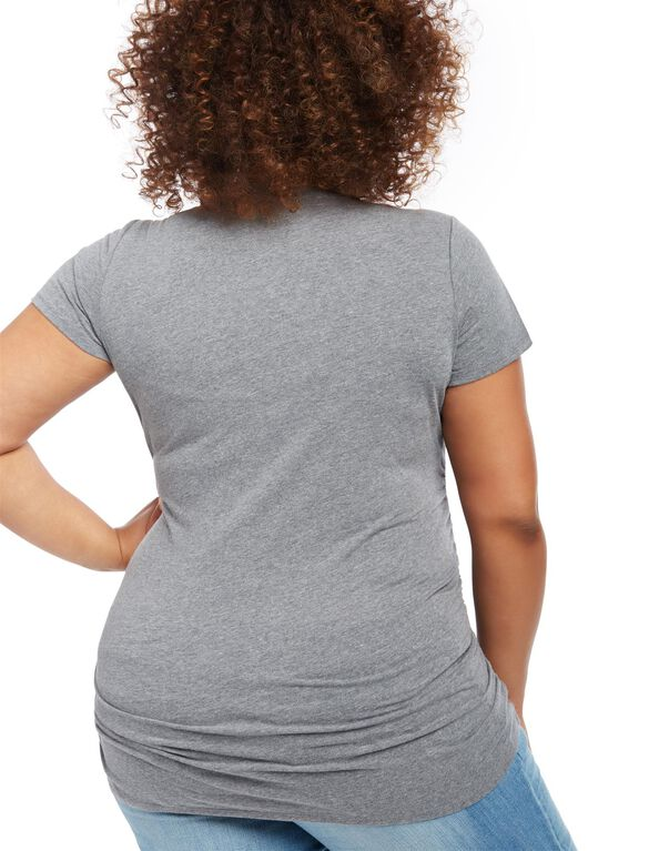 Plus Size Ruched Maternity T Shirt, GREY PRINT