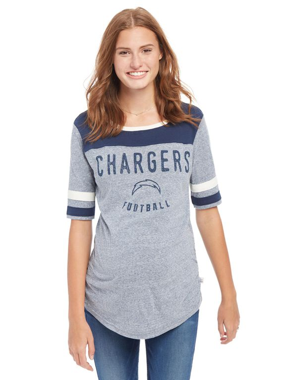 San Diego Chargers NFL Elbow Sleeve Maternity Graphic Tee, Chargers Blue