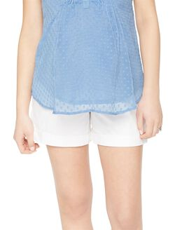 Secret Fit Belly Cuffed Sateen Maternity Shorts, White
