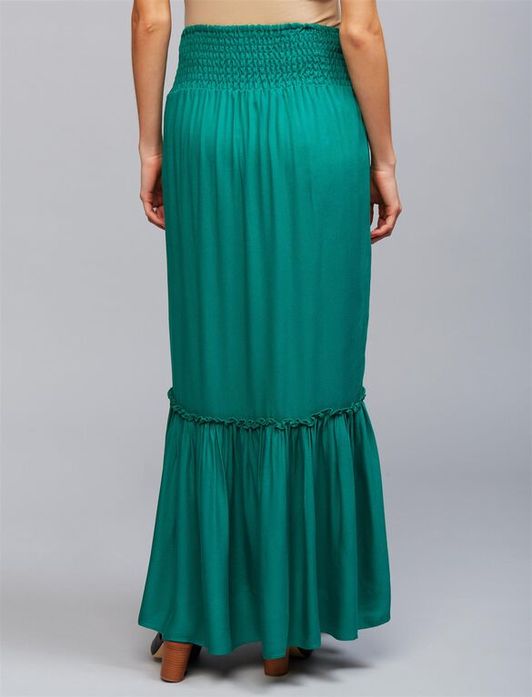 Under Belly Ruffle Hem Maternity Maxi Skirt, Shady Green