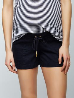 Under Belly Linen Drawstring Maternity Shorts, Navy