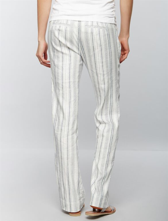 Under Belly Linen Wide Leg Maternity Pants, Stripe