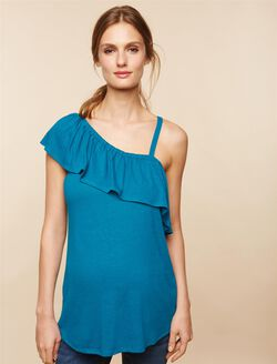 Ruffled One Shoulder Maternity Top, Blue Turquoise