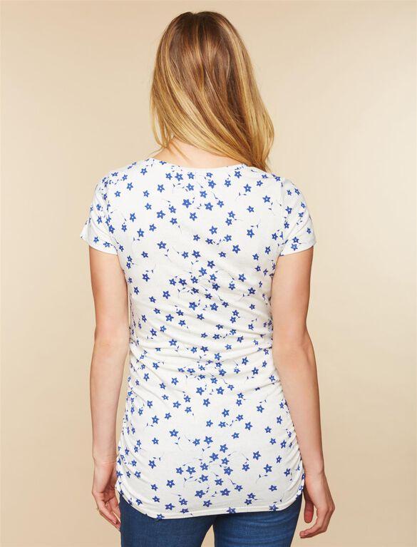 V-neck Side Ruched Maternity Tee, White Blue Floral