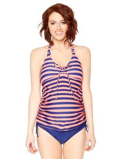 Halter Maternity Tankini Swimsuit- Stripe, Navy/Coral Stripe