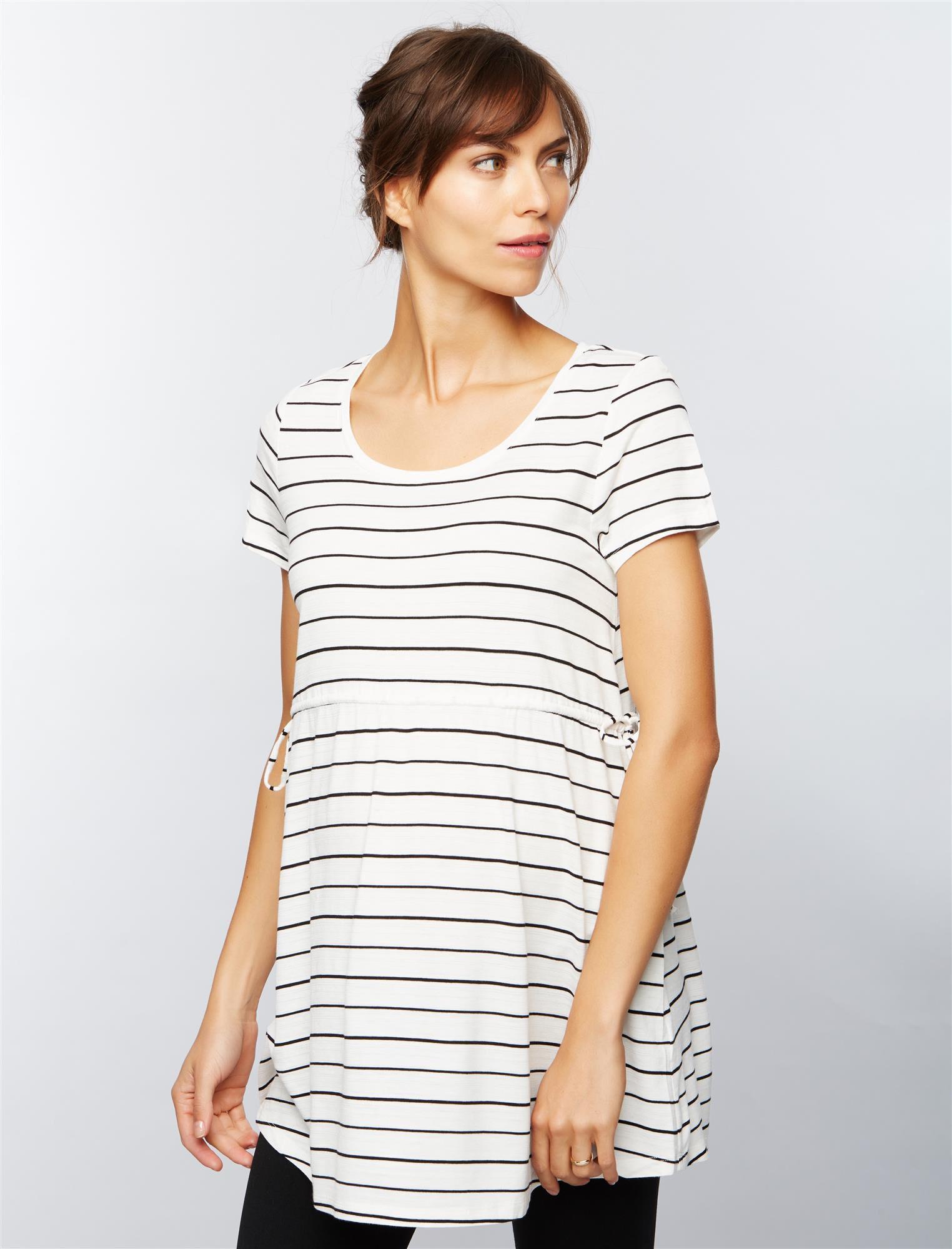 Side Tie Detail Maternity Tunic- Stripe