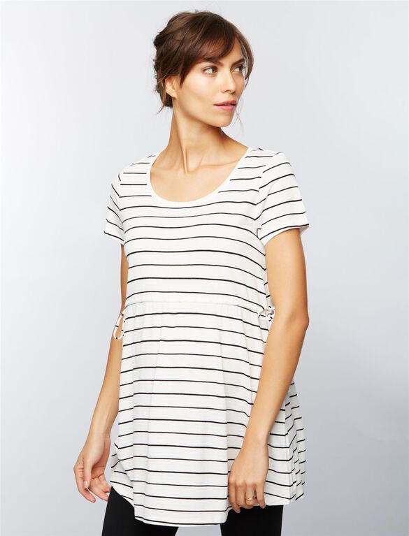 Side Tie Detail Maternity Tunic- Stripe, Blk/Wht Stripe