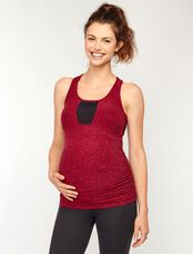Beyond The Bump Ruched Maternity Tank Top, Port/Wine Spacedye