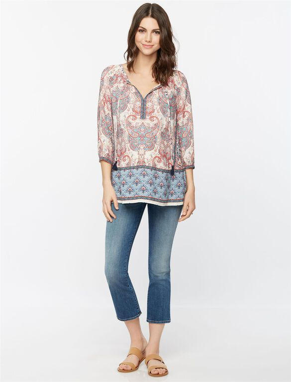 Daniel Rainn Shirring Detail Maternity Blouse, Paisley Mix Print
