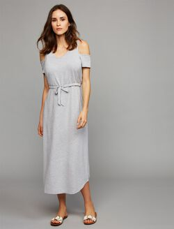 Pull Down Cold Shoulder Nursing Dress, Heather Grey