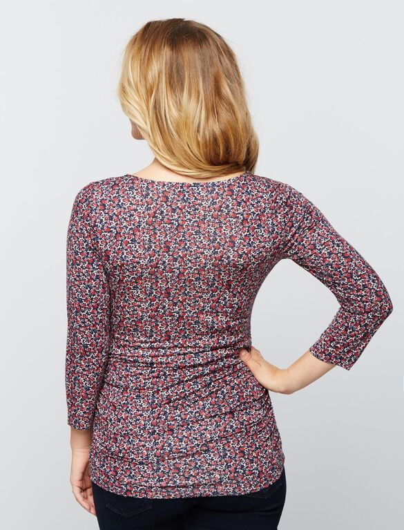 Scoop Neck Side Ruched Knit Maternity Tee- Print, Ditsy Floral