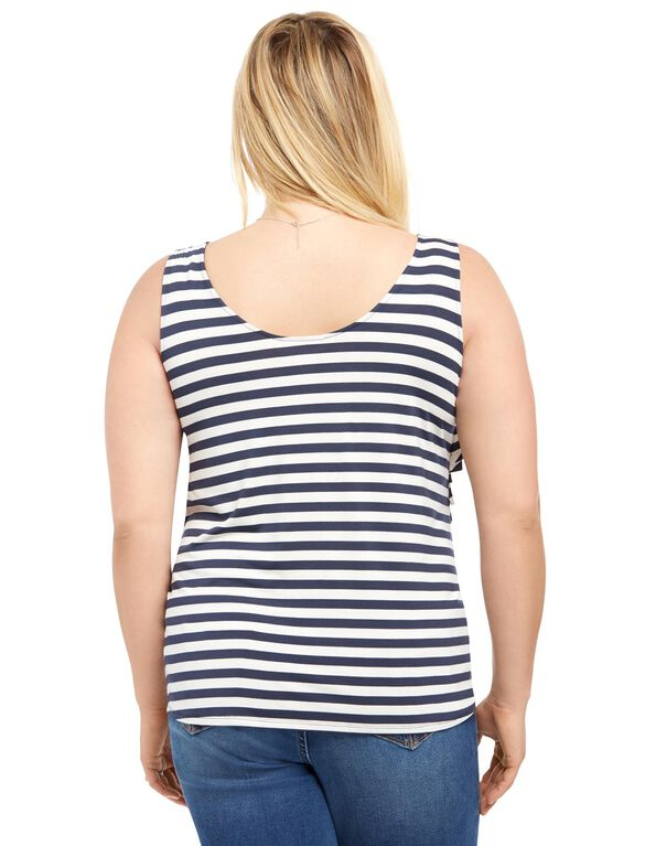 Plus Size Tiered Maternity T Shirt, Navy/White Stripe