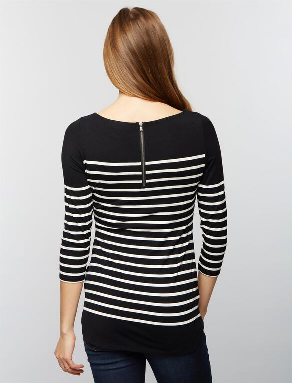 Striped Back Zip Maternity Shirt, Stripe