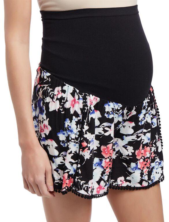 Secret Fit Belly Crochet Detail Maternity Shorts, Black Floral