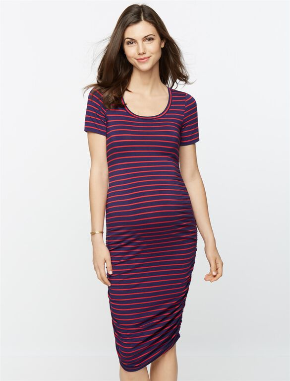 Side Ruched Short Sleeve Print Maternity Dress, Stripe