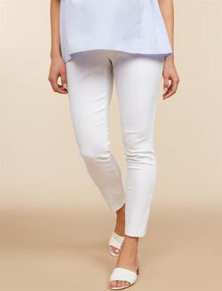 Secret Fit Belly Skinny Ankle Maternity Pants, Cloud Dancer White