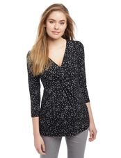 Knot Front Maternity Blouse- Wishprint, Wishprint