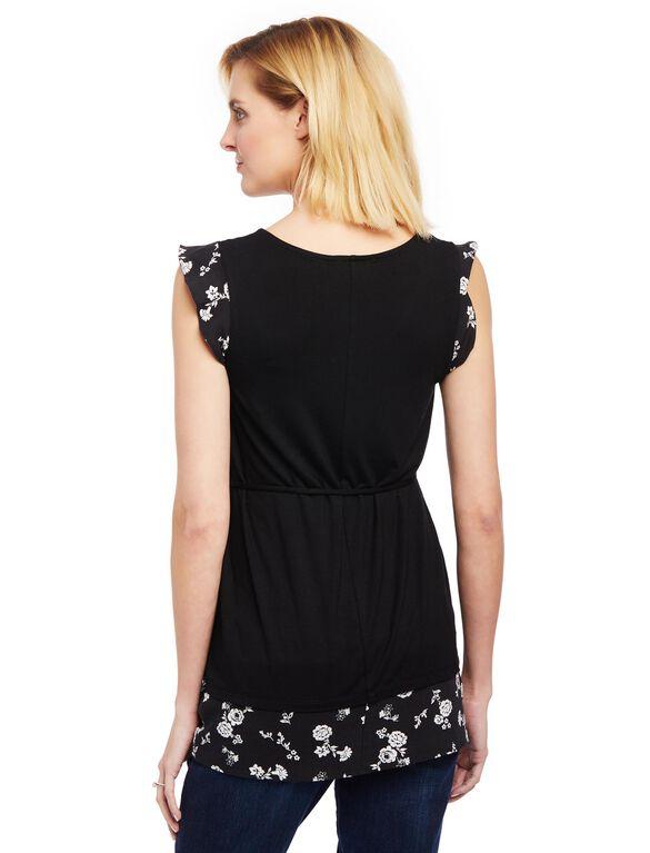 Flutter Sleeve Knit Woven Maternity Shirt- Black Floral, Black Floral