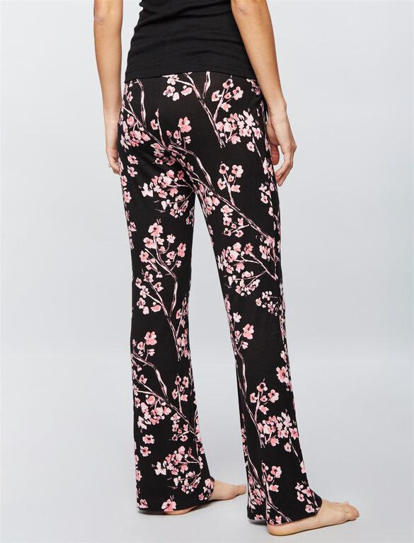 Bow Detail Maternity Sleep Pants, Japanese Floral Print