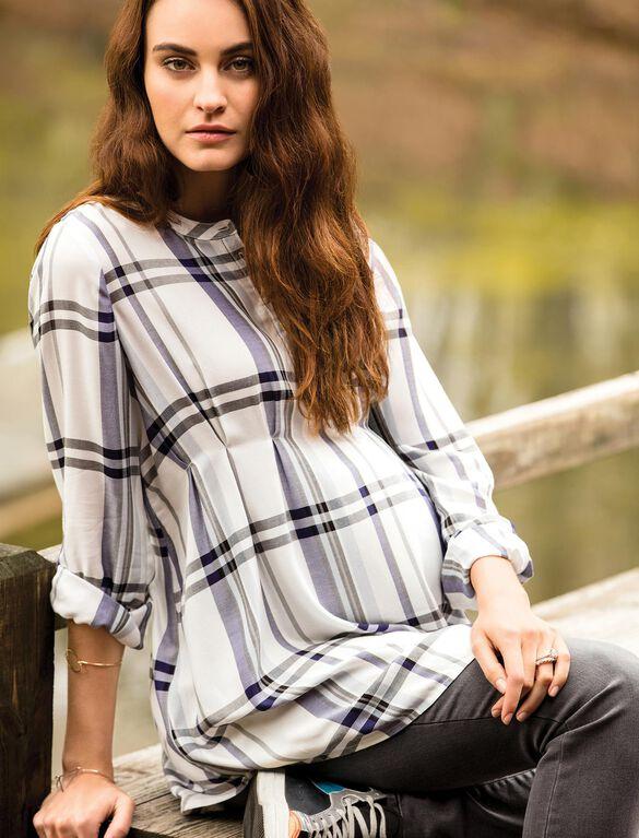 Luxe Essentials Denim Plaid Convertible Maternity Shirt- White, White Plaid