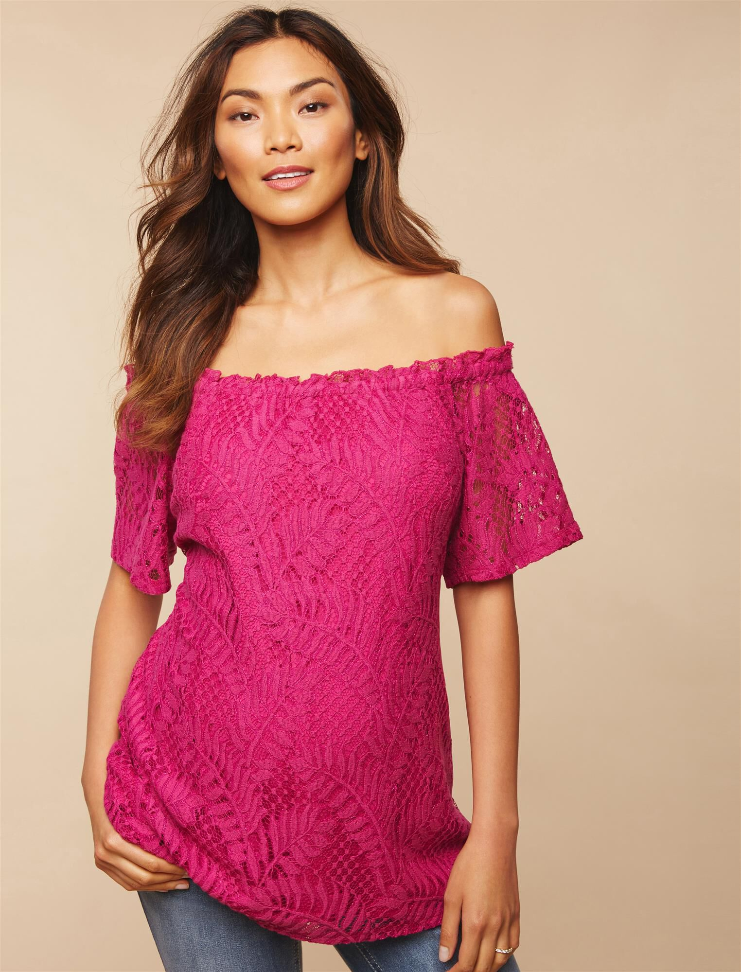Lace Off The Shoulder Maternity Blouse