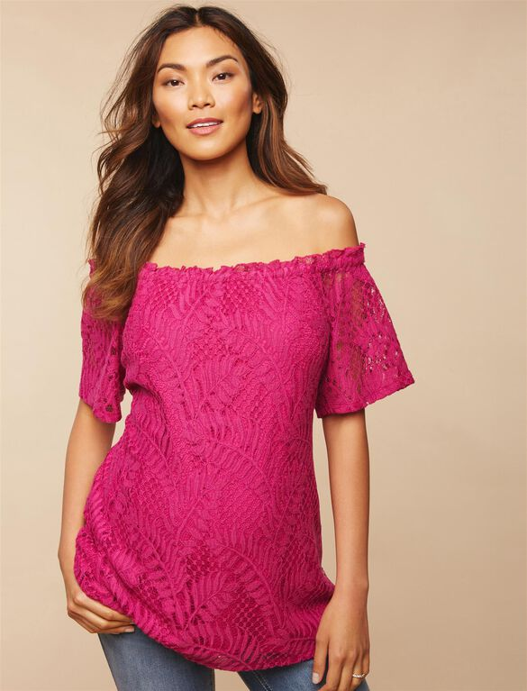 Lace Off The Shoulder Maternity Blouse, FESTIVAL FUCHSIA