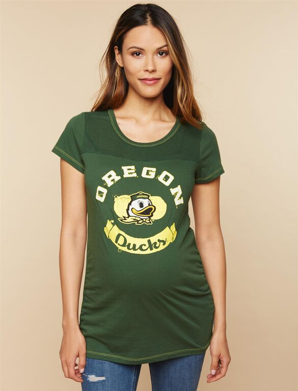 Oregon Ducks NCAA Mesh Detail Maternity Tee, Oregon