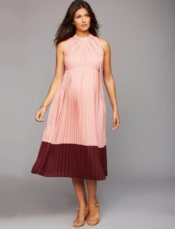 Pleated Halter Maternity Dress, Rosette