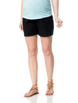 Secret Fit Belly Poplin Cargo Maternity Shorts, Black