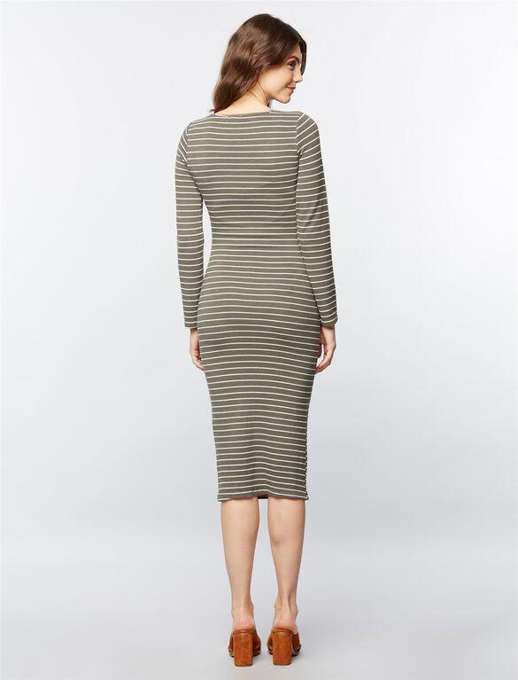 Monrow Maternity Knit Dress, Stripe