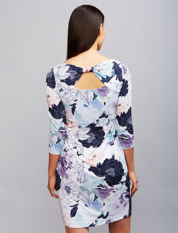 Back Interest Floral Maternity Dress, Floral Print