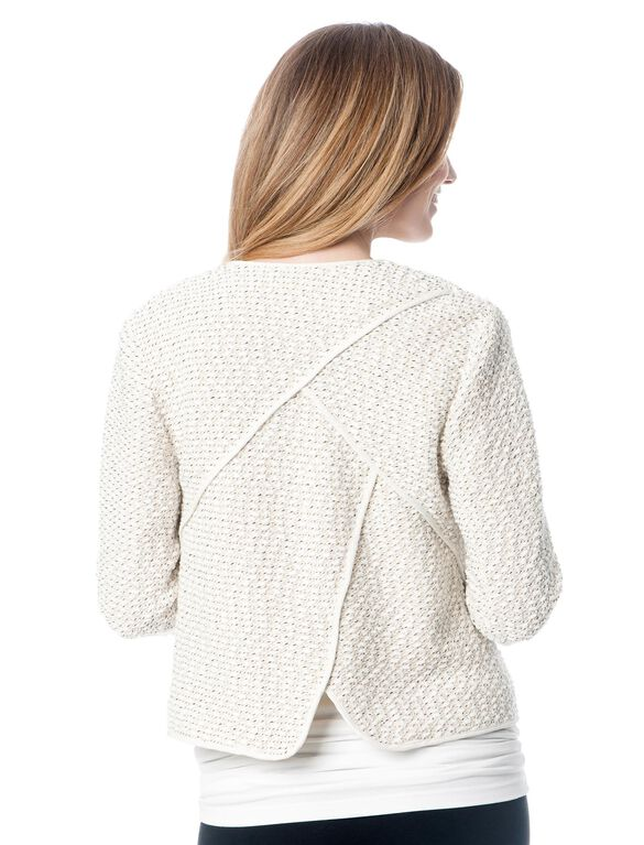Fashionista Stitch Detail Cotton Woven Maternity Jacket, Off White