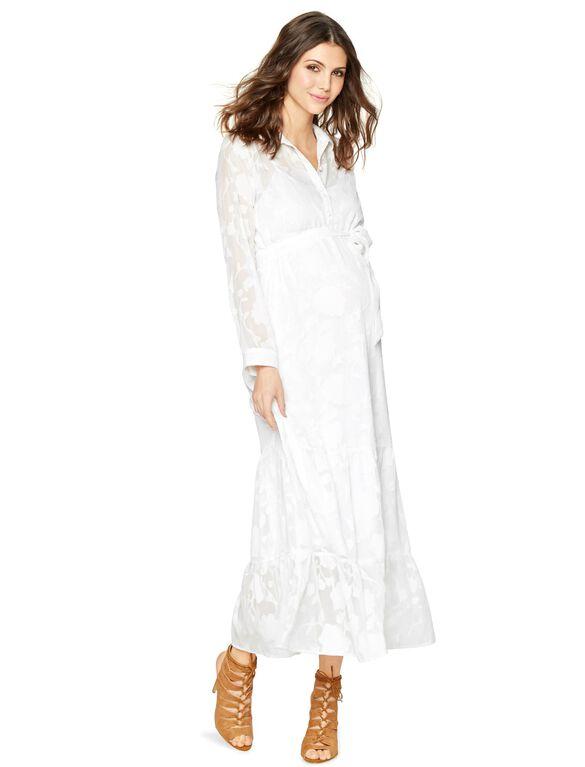 White Maternity Maxi Dress, White