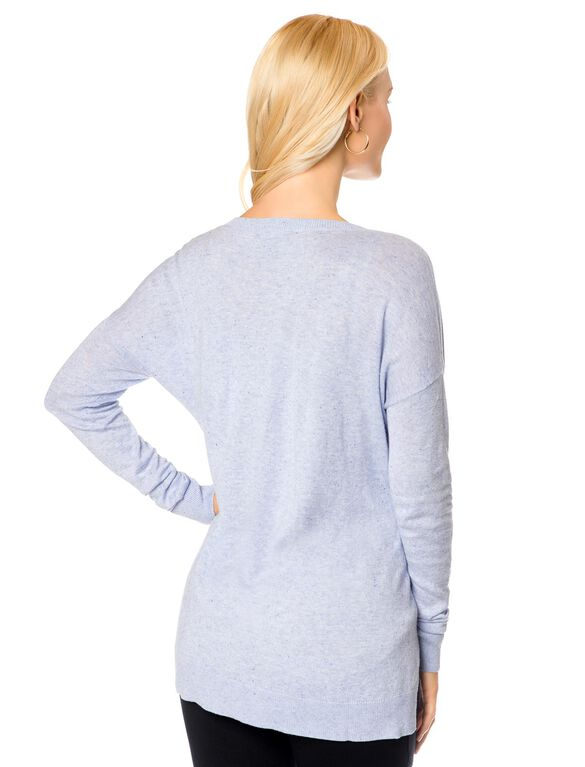 V-Neck Drop Shoulder Maternity Sweater- Marled Lilac, Heather Lilac
