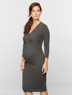 Isabella Oliver Relaxed Fit Maternity Dress, Dark Grey Marl