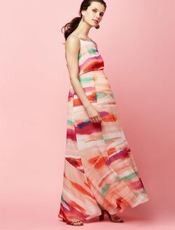 Ankle Length Maternity Maxi Dress, Pink Tie Dye