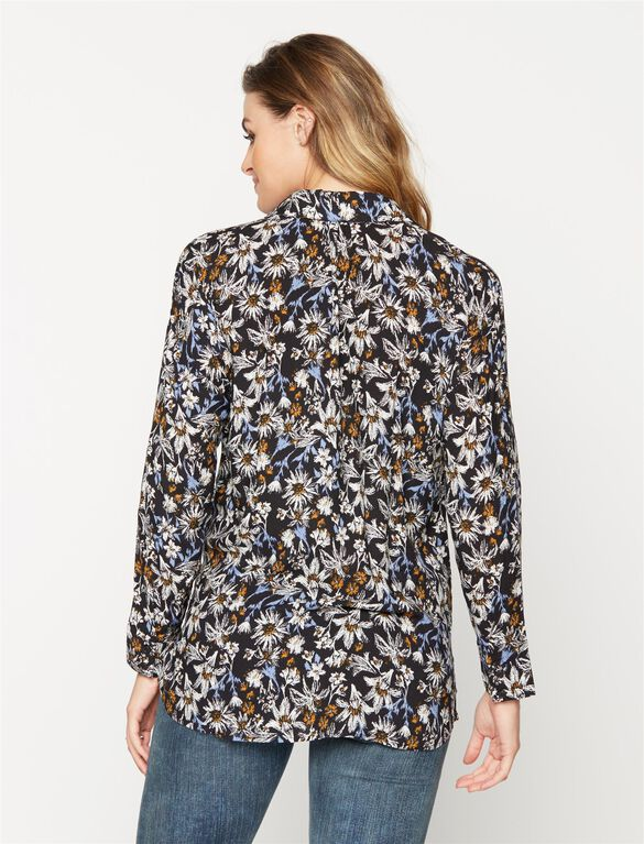 Splendid Maternity Shirt, Black Floral Print