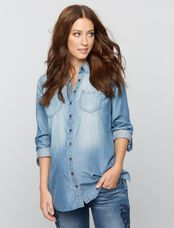 Luxe Essentials Denim Button Front Maternity Shirt, Blue