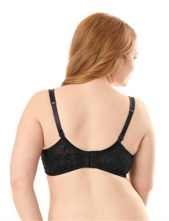 Plus Size Full Coverage Lace Nursing Bra, Black