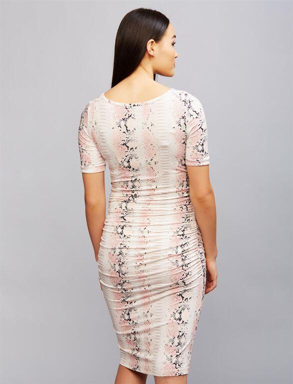 Isabella Oliver Ruched Maternity Shirt Dress- Python Print, Python Print