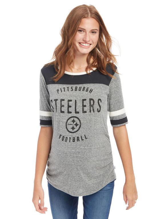 Pittsburgh Steelers Nfl Elbow Sleeve Maternity Graphic Tee, Steelers Black