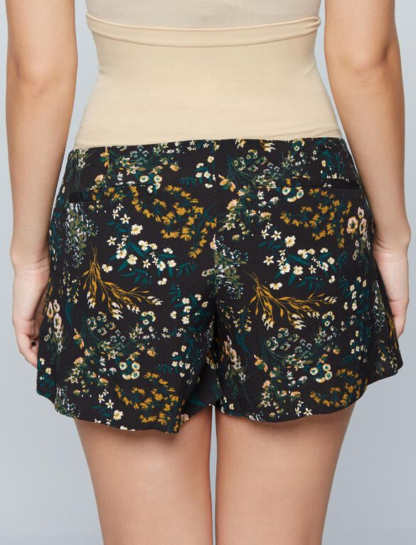Secret Fit Belly Pleated Maternity Shorts, Floral Print
