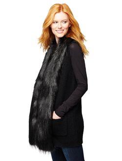 Faux Fur Trim Maternity Vest, Black